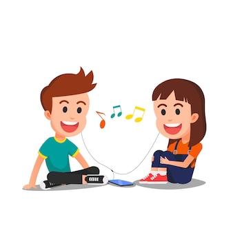 Zwei süße kinder, die zusammen musik hören