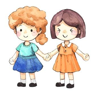 Zwei süße mädchen sind freunde