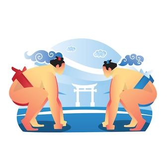 Zwei sumospieler treten selbstbewusst gegeneinander an