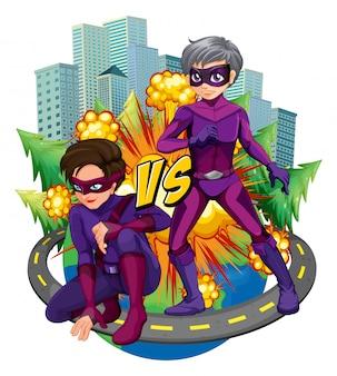 Zwei superhelden in der stadt