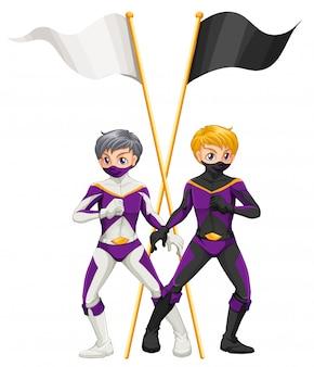 Zwei superhelden mit leeren fahnen