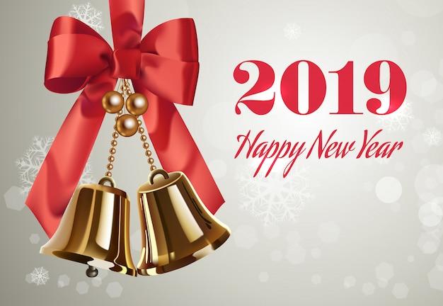 Zwei tausend achtzehn, happy new year-schriftzug, glocken und bogen