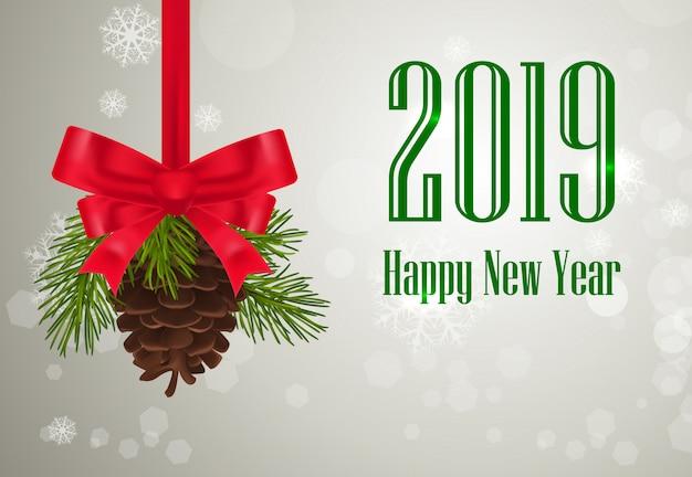 Zwei tausend achtzehn, happy new year-schriftzug, kegel und bogen