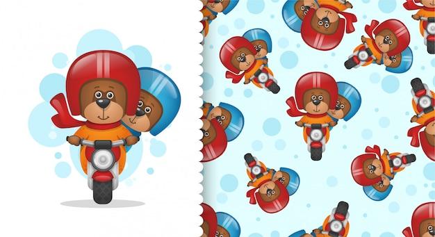 Zwei teddybären auf einem motorrad
