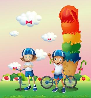 Zwei teenager in einem land voller süßigkeiten