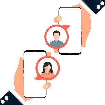 Zwei telefone. kommunikation zwischen zwei personen.