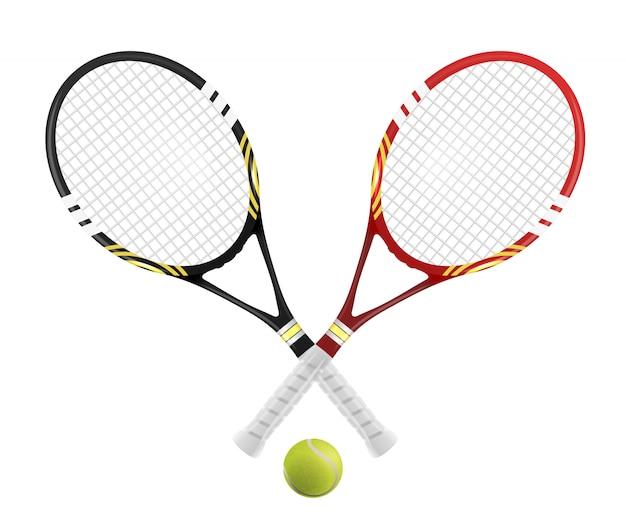 Zwei tennisschläger und ball