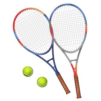 Zwei tennisschläger und zwei bälle illustration