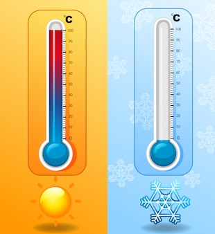 Zwei thermometer bei heißem und kaltem wetter