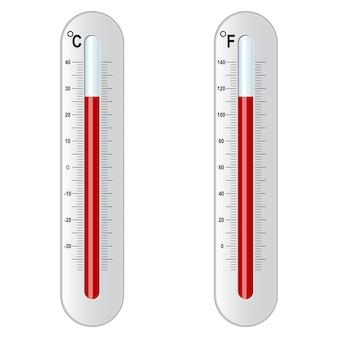 Zwei thermometer. celsius und fahrenheit.