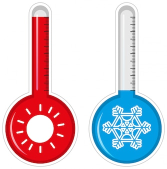 Zwei thermometer für heißes und kaltes wetter