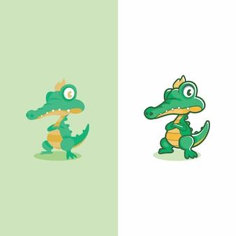 Zwei tipe krokodilmaskottchen design flach und nicht flach