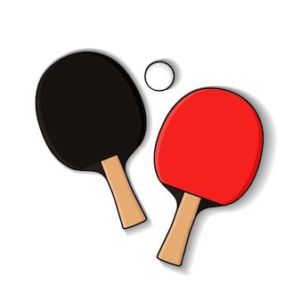 Zwei tischtennisschläger mit ball im monoline-stil. tischtennisausrüstung