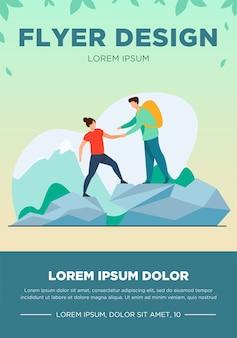 Zwei touristen, die in den bergen wandern. reisen, rucksack, natur flache vektor-illustration. urlaubs- und sommeraktivitätskonzept