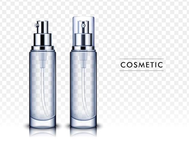 Zwei transparente kosmetikflaschen, eine nach links geneigt und eine mit plastikkappe, isolierter weißer hintergrund