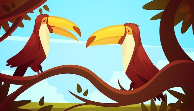 Zwei tukanvögel, die auf großem baumast mit retro- karikaturart des hintergrundplakats des blauen himmels sitzen