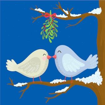 Zwei turteltauben weihnachten