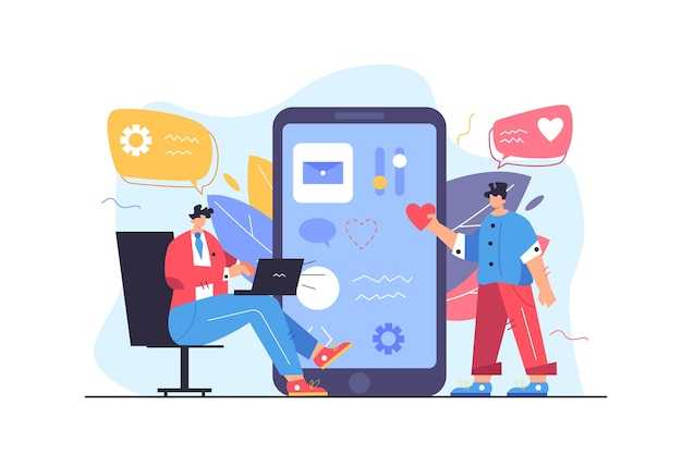 Zwei typ-programmierer passen die benutzeroberfläche auf einem großen bildschirm einer flachen illustration des mobiltelefons an, die auf einem weißen hintergrund lokalisiert wird
