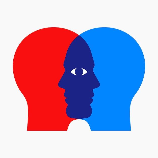 Zwei überlappende männergesichter, die mit einem gemeinsamen auge durcheinander schauen