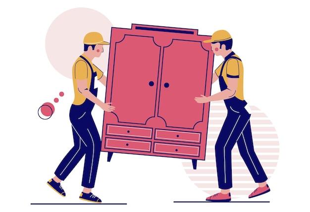 Zwei umzugsunternehmen mit schrankvektorillustration umzug umzugsunternehmen service möbellieferung