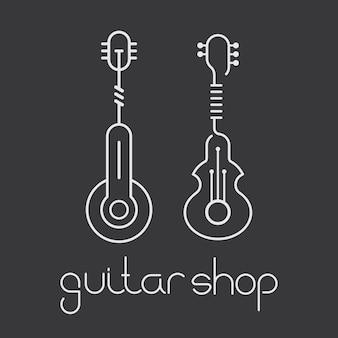 Zwei varianten von gitarrensymbolen lokalisiert auf einem dunkelgrauen hintergrund. kann als logo verwendet werden. gitarrenladen text.