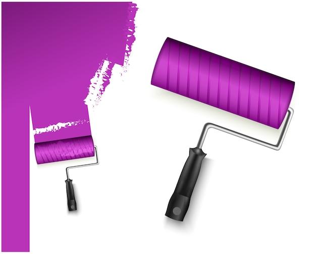 Zwei vektorillustration mit farbroller groß und klein und gemalte markierungspurle farbe lokalisiert auf weiß