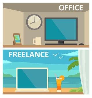 Zwei verschiedene arbeitsplätze mit einem computer im büro und im tropischen resort. flache illustration der vektorfarbe. für infografik, web, banner