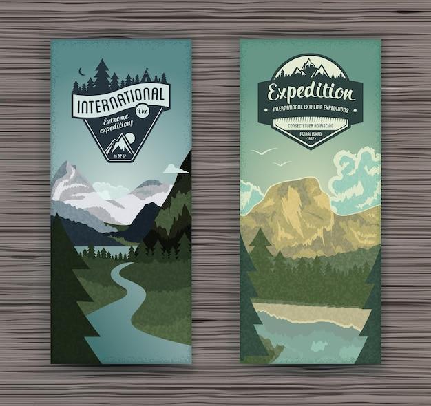 Zwei vertikale banner mit waldlandschaft und berggipfeln für den tourismus