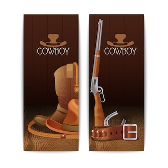 Zwei vertikale cowboy-banner