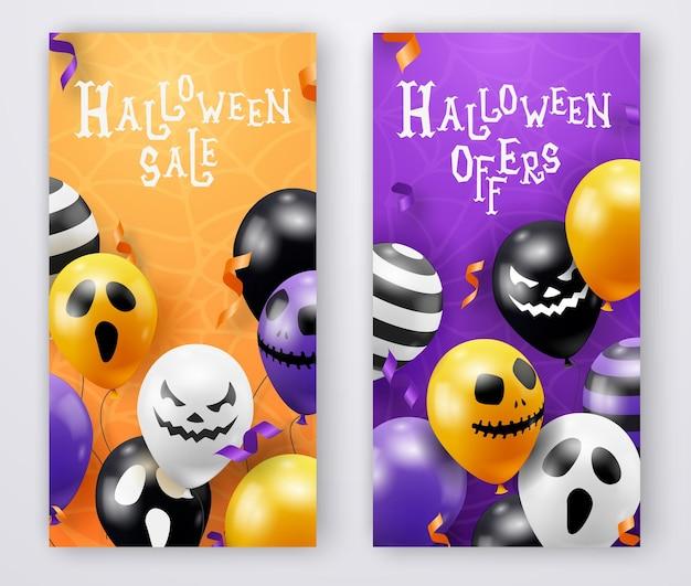 Zwei vertikale halloween-vektorfahnen mit geisterballons. gruselige gruselige gesichter auf ballons. dekorationselement für halloween feier