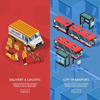 Zwei vertikale isometrische transportfahnen