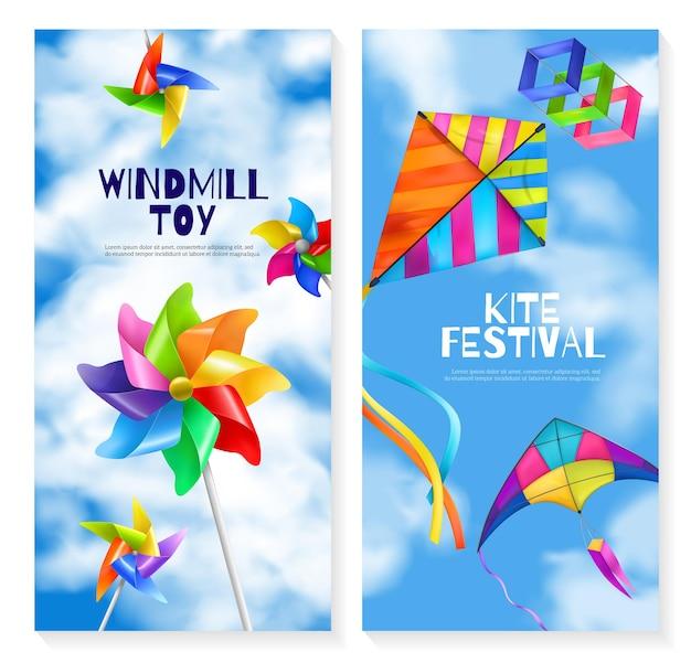 Zwei vertikale und realistische drachenwindmühlen-spielzeugbanner mit zwei verschiedenen flugspielen