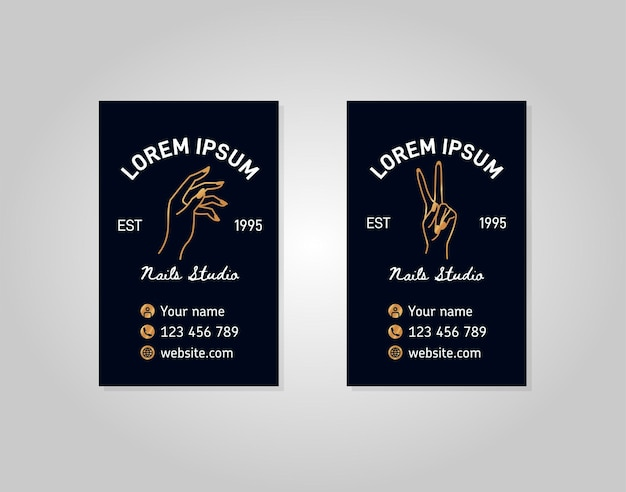 Zwei vertikale vorlagen goldene visitenkarte mit einer weiblichen hand in einem trendigen linearen stil. vektorlogo für einen schönheitssalon oder eine maniküre. zum verpacken von handcreme oder nagellack, nagel, seife, beauty store