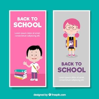 Zwei vertikale zurück zu Schulfahnen