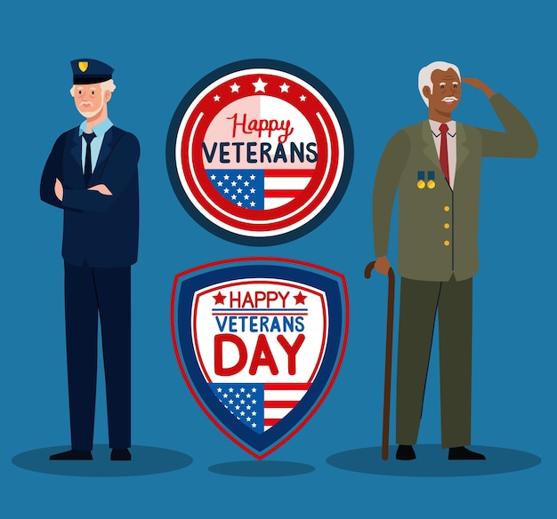 Zwei veteranen und embleme