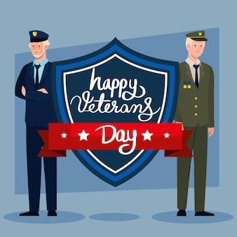 Zwei veteranen und schild