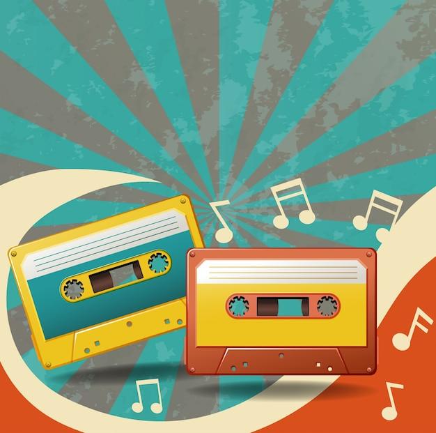 Zwei vintage kassetten und musiknoten