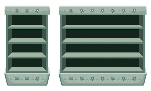Zwei vintage racks mit leeren regalen.