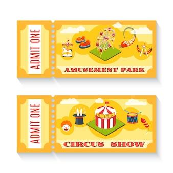 Zwei vintage vergnügungspark tickets gesetzt