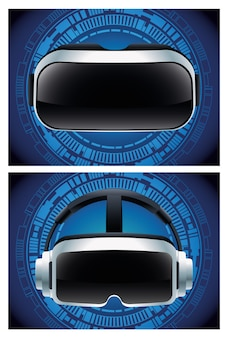 Zwei virtual-reality-masken zubehör mit blauem hintergrund