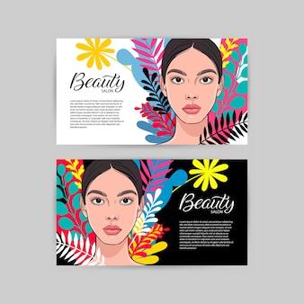 Zwei visitenkarten für schönheitssalon mit teil der jungen attraktiven frau.