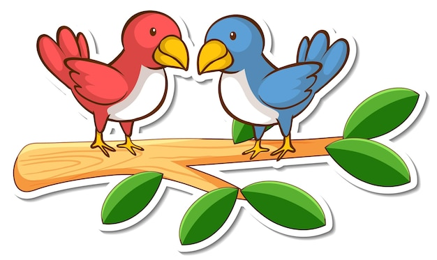 Zwei vögel stehen auf einem astaufkleber