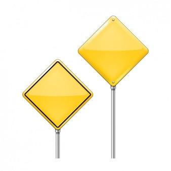 Zwei warnung verkehrszeichen-pack