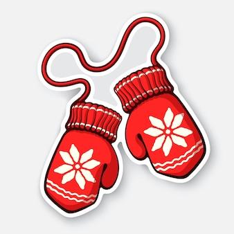 Zwei weihnachten roter fäustling mit schneeflockenmuster winterwollhandschuh vector illustration