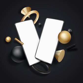 Zwei weiße realistische smartphone-modelle mit fließenden realistischen geometrieelementen