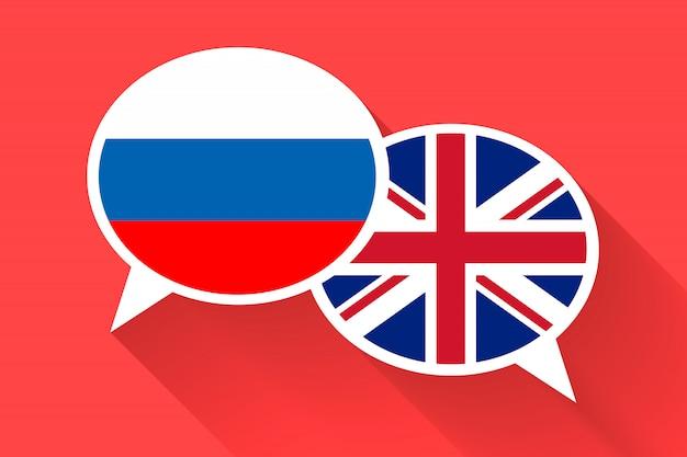 Zwei weiße sprechblasen mit russland und großbritannien flaggen