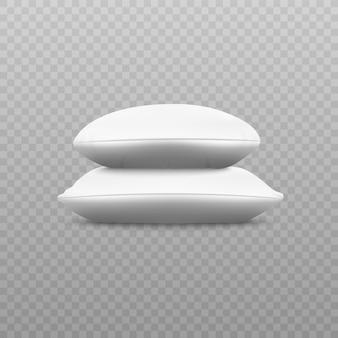 Zwei weiße weiche kissenstapel von der seitenansicht