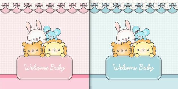 Zwei willkommens-baby-vorlagenkarten premium