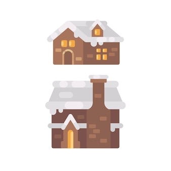 Zwei winterhaus mit schnee bedeckt. flache illustration der weihnachtslebkuchen-häuser