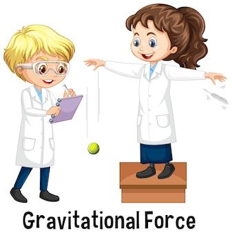 Zwei wissenschaftler, die gravitationskraft ausüben